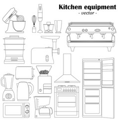 set of 14 elements of the kitchen equipment vector image