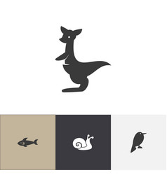 Set of 4 editable animal icons includes symbols vector