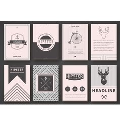 Set of brochures in hipster style vector