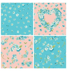 Set spring blossom flowers backgrounds vector