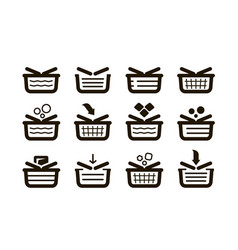 shopping basket set icons shop buy sale symbol vector image