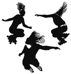 Silhouette of a young woman rollerblading vector image