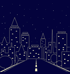 silhouette of the city road in the night city vector image