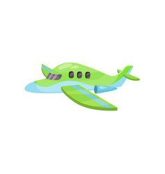 small blue-green airplane with jet engines toy vector image