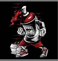 Spray paint skull face graffiti cartoon character vector