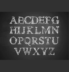 Steampunk font on blackboard vector