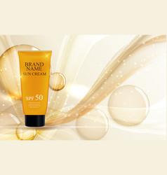 Sun care cream bottle tube template for ads or vector