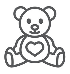 Teddy bear line icon child and toy vector