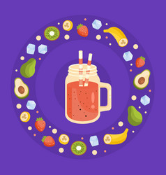 vegan raw detox smoothie tasty nutritious vitamin vector image