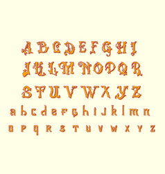 Victorian alphabet in ancient style antique old vector