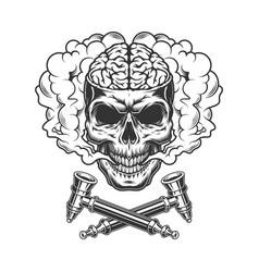 Vintage skull with human brain vector