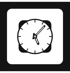Wall mounted round clock icon simple style vector