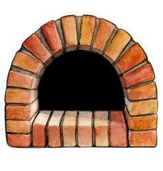 watercolor hand drawn brick arch pizza oven vector image