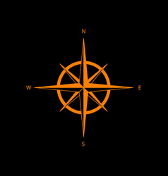 wind rose sign orange icon on black background vector image