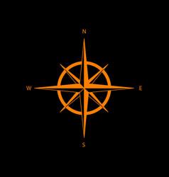 Wind rose sign orange icon on black background vector