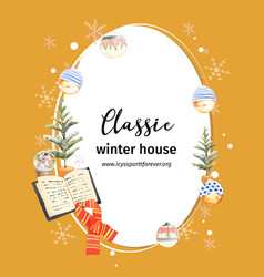 Winter home wreath design with book scarf vector