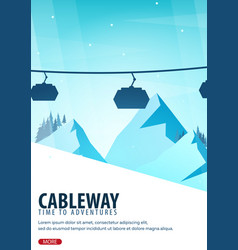 Winter sport cableway mountain landscape vector
