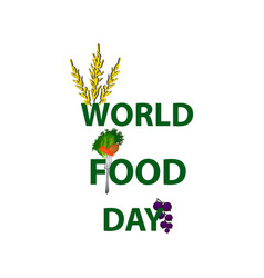 World food day signature fruits vegetables vector