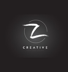 z brush letter logo design artistic handwritten vector image