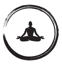 zen meditation circle black enso ink brush vector image
