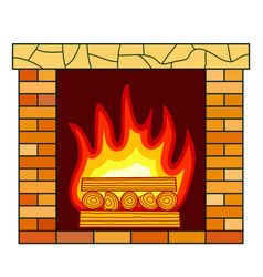 brick fireplace icon vector image
