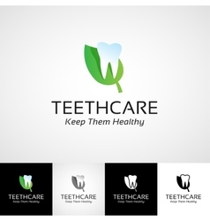 Creative dental logo template Teethcare icon set vector image