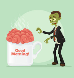 Happy smiling business zombie man vector
