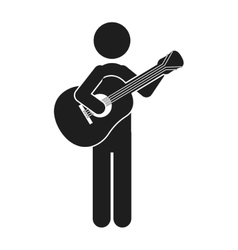 monochrome silhouette of man with guitar vector image vector image
