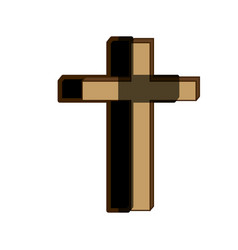 white background of wooden cross with shadow vector image vector image
