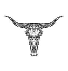 Decorative Indian bull skull Hand drawn vector image vector image