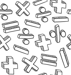 doodle math pattern seamless vector image vector image