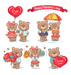happy valentines day teddy bears couples in love vector image
