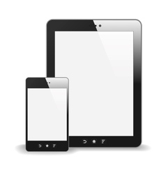 Realistic Tablet PC And Smart Phone With Blank vector image vector image