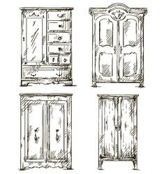 set of hand drawn wardrobes Interior vector image vector image