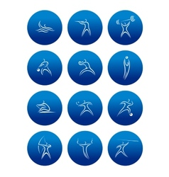 Abstract sporting pictograms with silhouettes of vector image