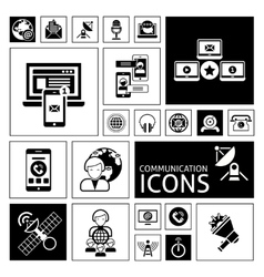 Communication Icons Black vector image