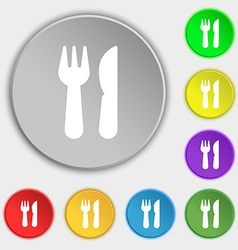 crossed fork over knife icon sign Symbol on eight vector image vector image
