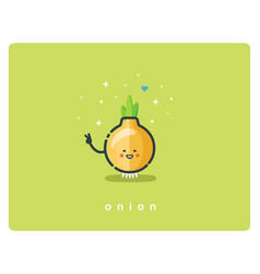 flat onion icon food cartoon cute character vector image