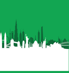 green cityscape background vector image vector image