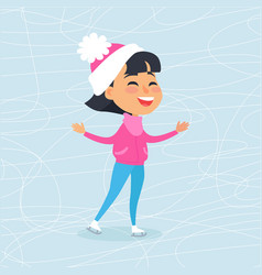 isolated smiling cartoon girl skating on icerink vector image