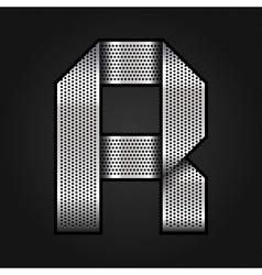 Letter metal chrome ribbon - R vector image vector image