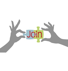 Member hands Join together puzzle vector image vector image