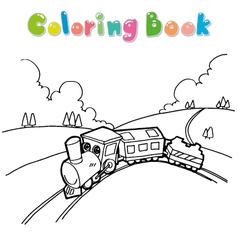 train coloring book vector image