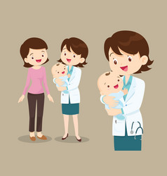 woman doctor and baby with mom vector image vector image