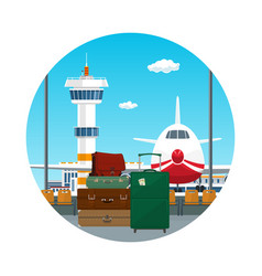 icon luggage bags for traveling vector image