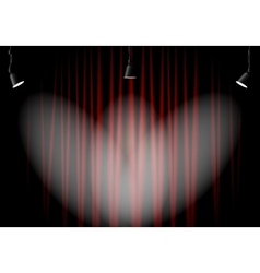 Lighting stage with red curtains vector image