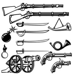 set of ancient weapon muskets saber cannons bombs vector image vector image