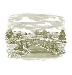woodcut bridge scene vector image