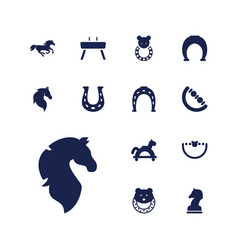 13 horse icons vector