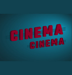 3d cinema sign vector image